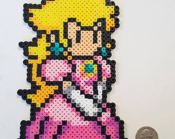 Inspired by Super Mario Princess Peach perler beads wall art
