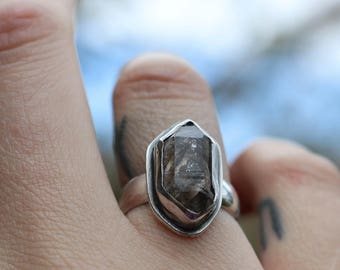 Sterling Silver Quartz Ring - Size UK L / US size 6 - quartz ring - silver quartz ring - handmade quartz ring