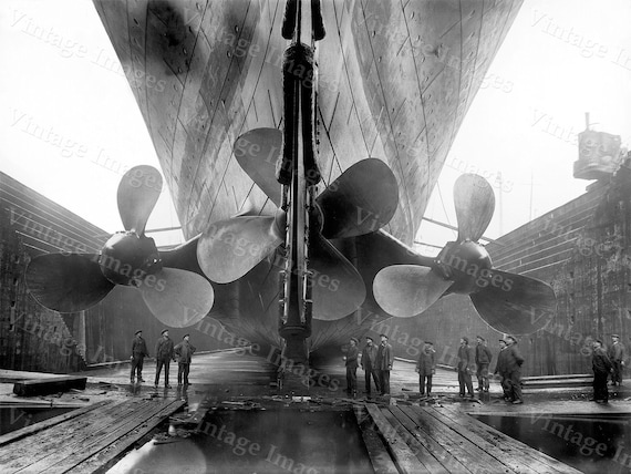 Titanic Photo 1911 RMS old Titanic Propellers Industrial Poster Black & White Ship Steamship steampunk Vintage Photograph art print wall art