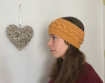 Quality hand knit, Cable knit Head band, Ear Warmer. Gift ready.