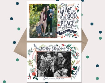 Christian Christmas Cards · Vintage Floral Luke 2:14 Bible Verse · Double sided with 2 back side options · red & navy blue flowers