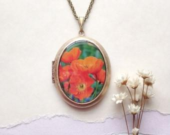Orange Poppy Locket - Secret Garden Collection - Poppies Floral Photo Necklace