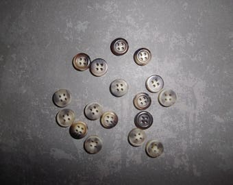 set of 16 buttons plastic 1 cm white/taupe
