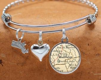 Map Bracelet Holliston Massachusetts State of MA Bangle Cuff Bracelet Vintage Map Jewelry Stainless Steel Bracelets