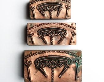 SET of THREE 1903-1953 Antique GERMAN Copper Letterpress Cut printing block Art Deco