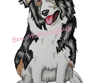 Border Collie Digital Dog Portrait, Custom dog drawing, Sketch of your dog