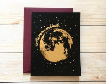 Moon Card | Valentine's Day Card Anniversary Card To the Moon and Back rose gold foil card for boyfriend card for girlfriend husband wife