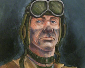 World War ll US Tank Commander,11x14 Original Oil Painting on Board,One of a Kind,Not a Print