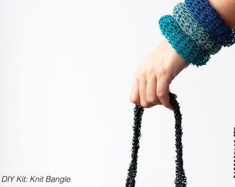 DIY Kit: Knit Bangle -  personalize and choose 3 colors -  fun and easy - no knitting skills required - makes a great gift, too!