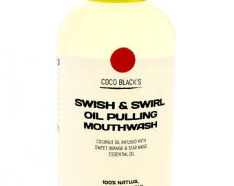 Sweet Orange and Star Anise Coconut Oil Pulling Mouthwash * 100% Natural Mouthwash to Cleanse the Mouth and Teeth Handcrafted in the UK