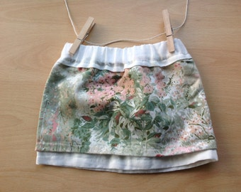 Green, Pink and Cream Floral Baby Girls Childrens Skirt