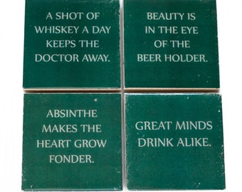 Drinking Quote Coaster Set with Wise Sayings (4 Stone Coasters, Green & White) Funny Misquotes, Beer Barware Gift