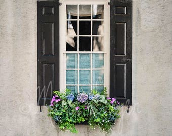 Window Art. Travel Photography. Historic Charleston. Flower Boxes. Southern Charm, Romantic Wall Decor, Home or Office Decor, Square Format