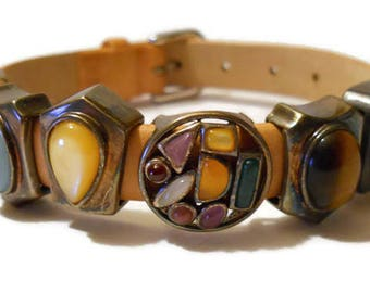 Vintage Prerogatives Leather Band Bracelet with Sterling Silver and Gemstone Charms