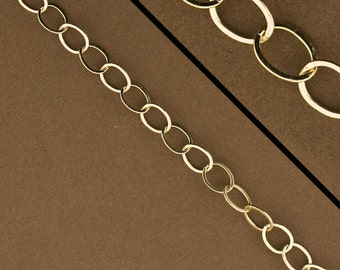 10 feet - Gold Filled Cable Chain. 14kt GoldFilled Flat Oval Chain for Jewelry. Made in USA. Bulk Chain, Wholesale, 4284F
