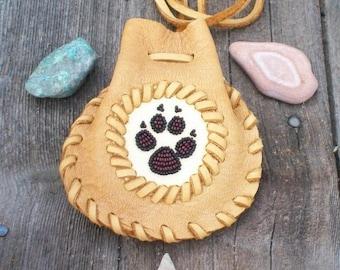 Beaded wolf  totem medicine bag ,   Beaded wolf paw ,   Handmade leather medicine bag