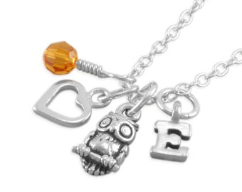 Owl Necklace, childs sterling silver, Personalized, birthstone, heart, little girls, birthday necklaces, monogrammed, owls, fall jewelry EVE