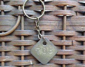 Vintage Brass Tag Industrial Number Tag Steampunk Number Key Chain #703
