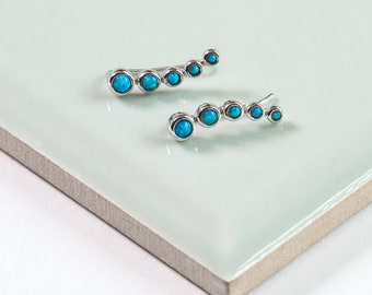 Sterling Silver & Opal Climber Earrings