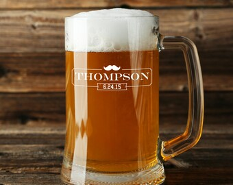 Personalized Beer Mug Mustache Mug Engraved Mug Sandblasted Glass Beer Mug