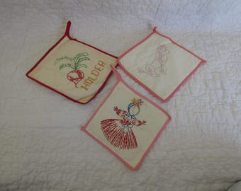 3 Vintage Pot Holders Hand Stitched