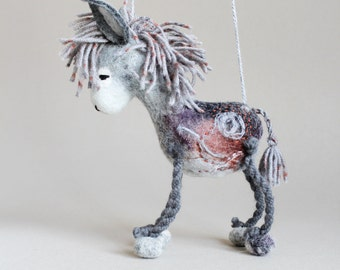 Frankie - Felt Donkey. Nursery decor, Art Toy. Felted Toys, Marionette,  Felted Animals, Felt Toy. grey gray silver. MADE TO ORDER.