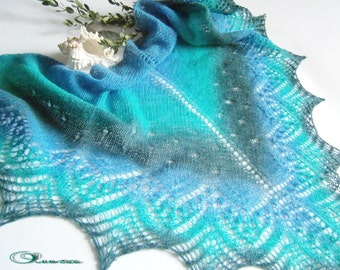 Ocean Lace Wool Shawl. Hand Knitting. Made To Order. Knitted Wool Shawl, Wraps, Hand Knit Shawl, Women Scarf