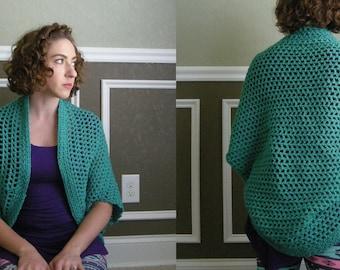 Crocheted Shrug in Teal - Small/Medium