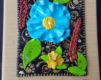 Polymer clay blue flower journal