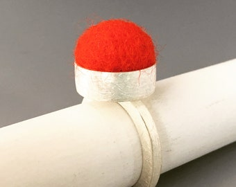 Red felt ball ring