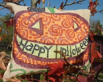 Happy Halloween - Handmade Finished Cross Stitch Pillow, 35x29cm, 130x112 stitches