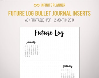Future Log A5 (2018) - Bullet Journal Printable PDF
