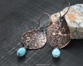 Wire wrapped earrings Hammered copper Metalwork earrings Wire wrapped jewelry Long Dangle  earrings Rustic Boho earrings Gift for her