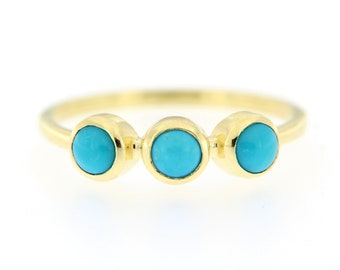 Turquoise Ring, Turquoise Ring Gold, Gold Bezel Ring, Natural Turquoise Ring, 3 Stone Ring, 14K Turquoise Ring, Stacking Gold Ring, GR0576