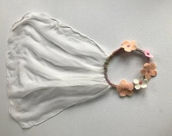 Princess Veil ,Crown ,Hairwreath ,Fairy ,Flower.Wet  Felted.Silk.