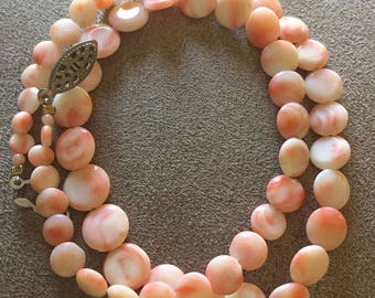 """Genuine Coral Graduated Disk Necklace 17"""""""