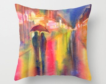 Rainy Night in New Orleans Watercolor Throw Pillow Cover