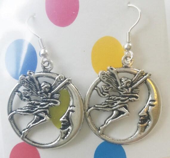 fairy half moon face earrings hoop earrings, silver hoops dangles fairies handmade charm jewelry
