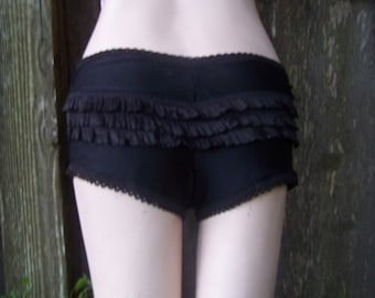black boyshort with back ruffles