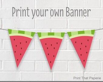 Summer Birthday Banner - Watermelon Party Banner - Watermelon Birthday Bunting - Summer Party Banner