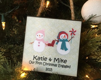 Our First Christmas Engaged, Personalized Gift, Personalized Christmas Ornament, Gift For Couples