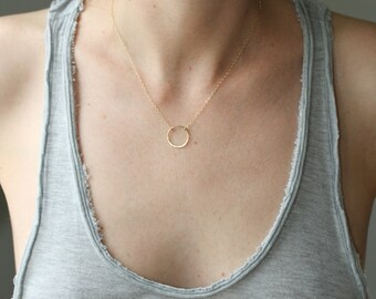Delicate necklace - gold circle necklace - dainty gold necklace - karma necklace - simple gold jewelry - minimalist necklace - Sea and Cake