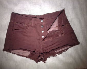 Vintage Original 501 Levi Strauss Short Burgundy Red High Waist Jeans Big E Fly Button Hand fryed SHORTS BOHO ripped distressed Jeans W34L34