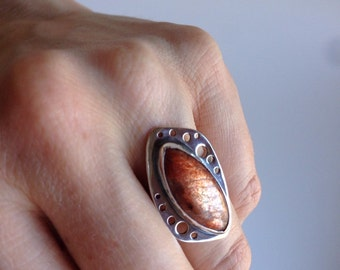 Sunstone ring, sterling silver ring with marquise cut orange stone, size 6.75 ring, sunstone jewelry