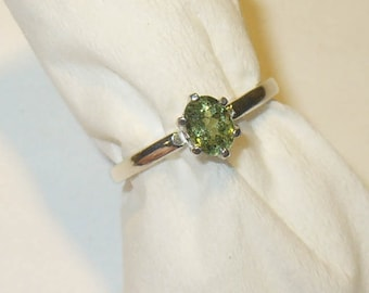 Demantoid Garnet Solitaire Ring - Rare Genuine Natural Gem in Solid Sterling Silver - Size 5.75