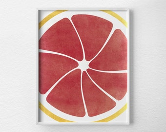Citrus Print, Pink Grapefruit Print, Citrus Decor, Fruit Kitchen Art, Kitchen Decor, Kitchen Poster, Food Art, Kitchen Print, 0085
