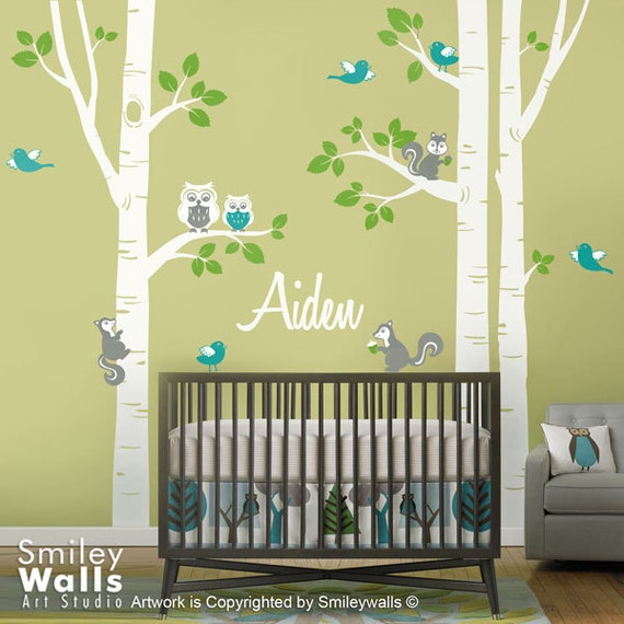 Nursery Wall Decal Birch Trees Forest Animals Kids