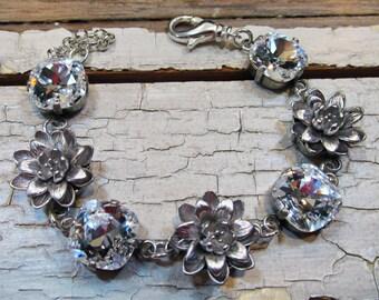 Lotus Swarovski Crystal Bracelet, Bridal Bracelet, Clear Diamond Sparkle, Floral, Wedding Jewelry, Great Gatsby