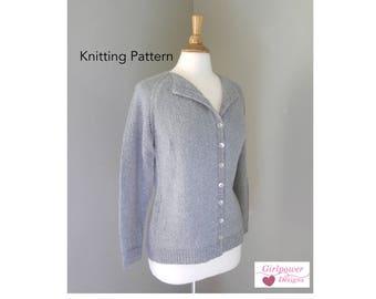 Knitting Pattern, Button Front Cardigan Sweater, DK Yarn, Long Raglan Sleeves, Foldover Collar, Women's XS S M L Xl Xxl