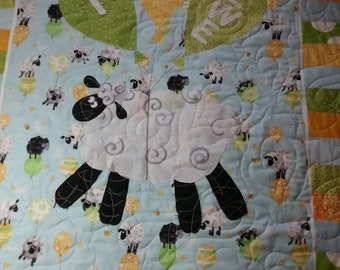 Lewe the Ewe Baby Quilt, First Annual Quiltsy Challenge, Quiltsy Handmade, I LOVE EWE quilt, Gender Neutral baby quilt